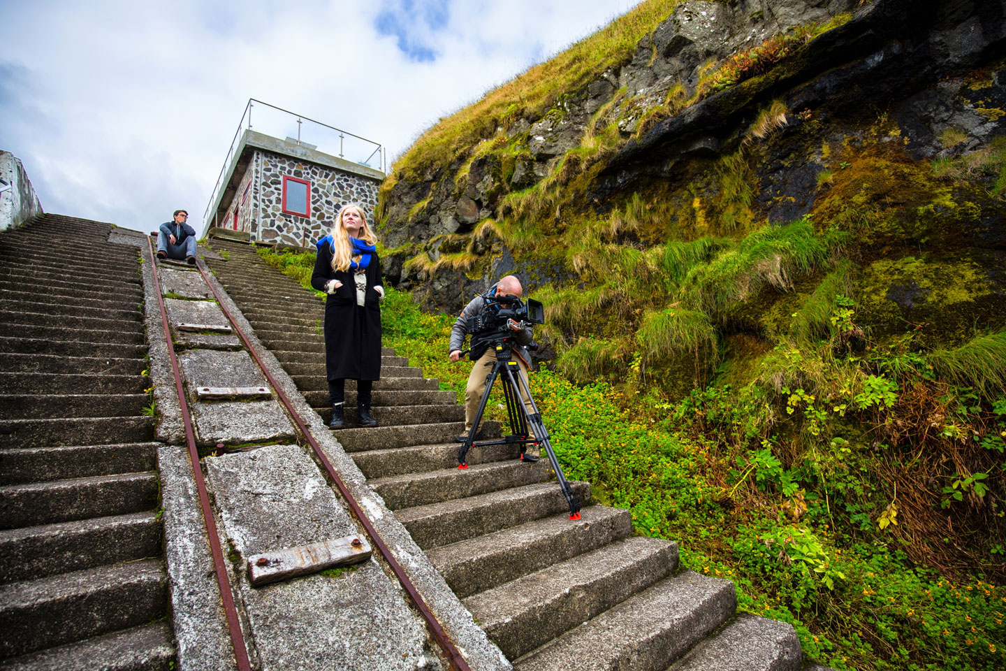 Filming on staircase Faroe Islands
