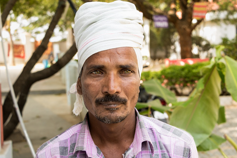 Man at temple with turbin Hyderabad India