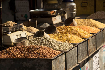 selection of dry beans in market Hyderabad India