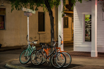 chained bikes on duval street in key west florida
