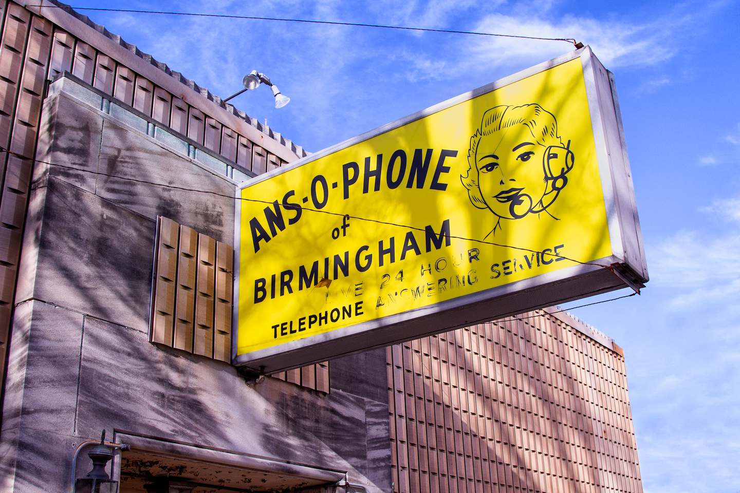vintage sign for ans-o-phone phone answering service birmingham alabama