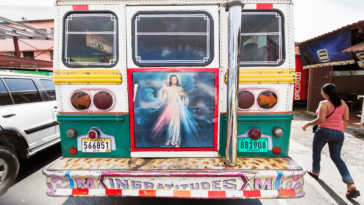 Bus with Jesus and religous icons painted on bus Panama Central America