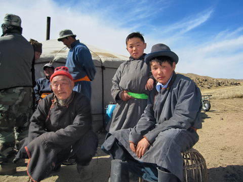 mongolian family in the steppe mongolia