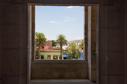 Street shot from window at Museum of Oaxacan Cultures Oaxaca Mexico