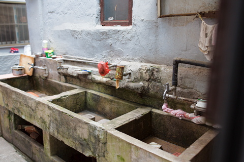 Old sink in alley Shanghai China